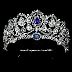 2017 Hot European Silver Plated Blue Rhinestones Quinceanera Metal Fine Vintage Luxury Royal Tiaras And Crowns Wedding Party