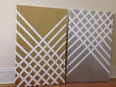 Easy DIY Canvas Art  Step 1: use blue tape and place diagonal lines on the left and right so they intersect. Make sure lines are 2 inches apart.  Step 2: spray paint gold or silver over the tape and let it dry for 3 to 4 hours or until completely dry.  Step 3: take tape off carefully