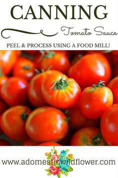 Canning Tomatoes: How to Can Tomato Sauce from A Domestic Wildflower Home Canning, Canning Soup, Easy Canning, Canning 101, Water Bath Canning, Food Mills, Canning Tomatoes, Stuffed Banana Peppers, Canned Tomato Sauce