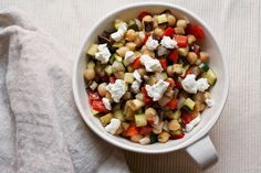Roasted Caponata Salad with Chickpeas and Goat Cheese