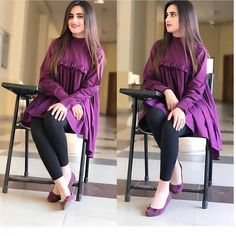 New Image : Pakistani fashion casual Stylish Dresses For Girls, Stylish Dress Designs, Designs For Dresses, Simple Dresses, Casual Dresses, Casual Clothes, Winter Dresses, Casual Wear, Simple Pakistani Dresses