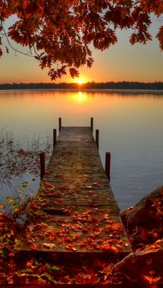 """Autumn Sunrise"" ~ Pelican Lake ~ Antigo Island, Wisconsin • photo: Sherry Slabik"