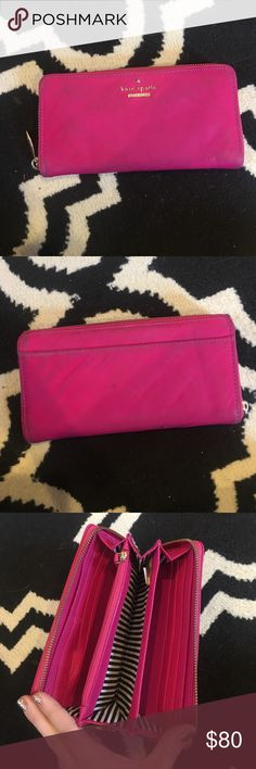 Kate spade wallet! I bought this wallet a year ago, I love the color and used it but it's in good condition. There's so much room for cards money and change. I'm accepting offers on the wallet. If anyone is interested in the kate spade bag I will bundle for $75 with this wallet and bag :) kate spade Bags Wallets