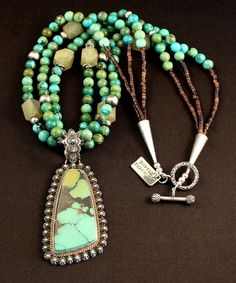 China Mountain Turquoise and Sterling Silver Pendant with 3 Strands of Turquoise, Jade & Sterling