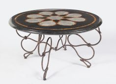 Cocktail Table Black Stone Top on Iron Base Inlaid New Free shipping