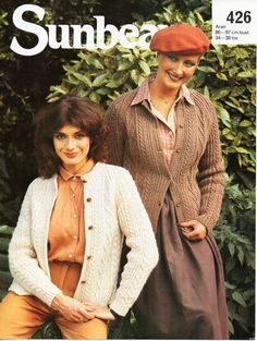 womens aran cardigan knitting pattern PDF ladies aran jacket cable round neck 34-38 inch aran worsted 10ply Instant download by coutureknitcrochet on Etsy