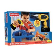 Fisher Price Drillin' action tool set. J loved it and @ 16 months could drill plastic screws into holes. Great gift for toddler that loves noise and action! $24.99 -@ christmas bought it for $17.99