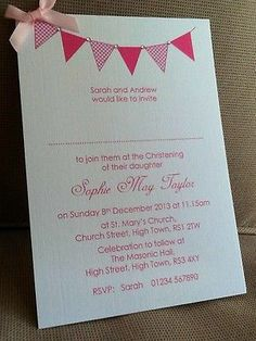 10 x Handmade Personalised Christening / Naming Day Bunting Invitations   eBay