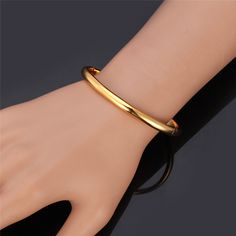 Simple Style Bangle Fashion Jewelry Wholesale Men/Women Gift Trendy 18K Real Gold Plated Copper Round Bracelets Bangles