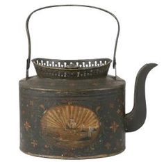 Lot: RARE TIN TOLE TEAPOT, Lot Number: 0001, Starting Bid: $500, Auctioneer: Thomaston Place Auction Galleries, Auction: Winter Feature Auction - Day 1, Date: February 11th, 2017 CST