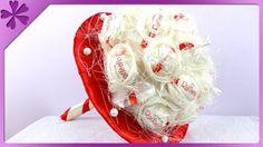 DIY Bukiet z Rafaello. Raffaello bouquet (+ENG Subtitles) - Na szybko Today I will show you fast and easy way to make bouquet made from Raffaello pralines. --- Needed items: half of styrofoam ball, sisal, wooden skewers, cardboard circle cm Diy Bouquet, Candy Bouquet, Flower Boxes, Diy Flowers, Ferrero Rocher Bouquet, Chocolate Flowers Bouquet, Sweet Trees, Styrofoam Ball, Creative Gifts