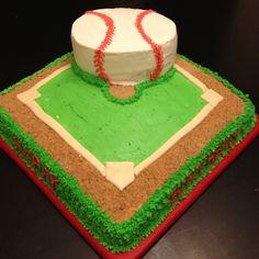 Baseball cake Baseball Theme Cakes, Baseball Birthday Cakes, Adult Birthday Cakes, Baseball Party, Sports Party, Birthday Ideas, Diva Cakes, Yummy Cakes, Cute Cakes