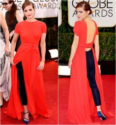 Emma Watson at the 2014 Golden Globes. Interesting choice. It suits her.