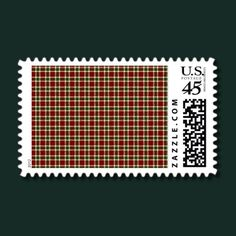 burgundy and pine green plaid Christmas design Postage