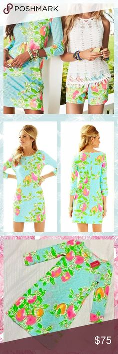 NWT Lilly Pulitzer Marlowe dress pink lemonade xxs New with tags Lilly Pulitzer Marlowe dress in pink lemonade print. Pool blue color. Gorgeous dress! Photos do not give justice! Bright blue, pink, yellow, orange, green, and white. 3/4 sleeve dress. Retails $98 before tax/ shipping. Price firm unless purchased on ♏️ or 🅿️🅿️ Lilly Pulitzer Dresses Midi