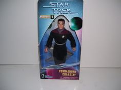 "1997 Playmates Star Trek Commander Chakotay 9"" action figure in original box."
