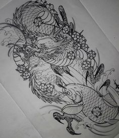 japanese tattoos and what they mean Japanese Dragon Tattoos, Japanese Tattoo Art, Japanese Tattoo Designs, Japanese Sleeve Tattoos, Japanese Tattoo Women, Black Dragon Tattoo, Dragon Sleeve Tattoos, Leg Tattoos, Tattoos For Guys