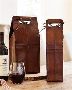 Leather Wine Bottle Carrier and Bag | Balsam ill Great for gift giving, too! #MyBalsamHillHome