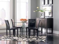 Glass on Glass Square Dining Room Set (via @CORT Furniture)