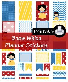 Disney Snow White Princess PDF PRINTABLE Planner Stickers Happy Planner Erin Condren Planner Filofax Plum Paper Decorating Kit by WhimsicalWende on Etsy