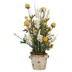 Showcasing lovely faux wild flowers in a clay planter with a distressed finish, this beautiful arrangement brings natural appeal to your foyer or living room...