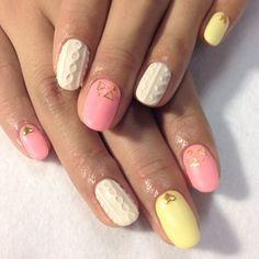 ピンク 春ニットネイル♪|ネイルデザインのカタログ|moya nail|かみまどネイルカタログ