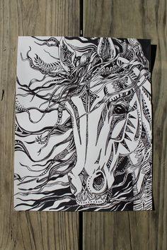 Abstract horse horse head wild horse horse drawings от artbyadren
