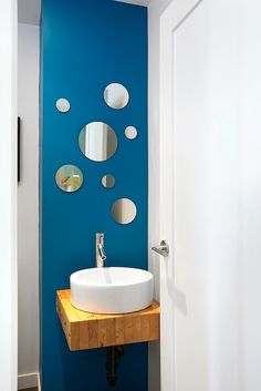 Modern, Green Renovation Vancouver - contemporary - powder room - vancouver - by Marken Projects Design + Consulting Tiny Powder Rooms, Mirror Collage, Living Room Mirrors, Wall Mirrors, Mirror Mirror, Powder Room Design, Circular Mirror, Bathroom Inspiration, Bathroom Ideas