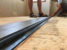 DIY RV REFLOORING WITH A FLUSH SLIDE - Mortons On The Move Trailer Decor, Trailer Interior, Rv Interior, Camper Steps, Diy Camper, Pebble Tile Shower, Camper Flooring, Camper Repair, Installing Laminate Flooring