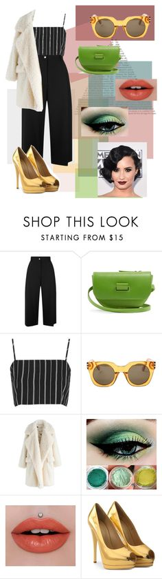 """B O L D"" by megan1432 ❤ liked on Polyvore featuring Public School, Wandler, Topshop, Marc Jacobs, Chicwish, Jeffree Star, Giuseppe Zanotti, yellow, black and GREEN"