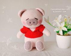 fukuroucrafts: Cute Crochet Pattern Pig Doll, Cute Amigurumi Pig Doll, แพทเทิร์น ตุ๊กตา ถัก โครเชต์ หมู น้อย น่ารัก