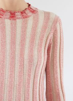Crew Neck Sweater in Cotton Blend Two Toned Ribs - Céline