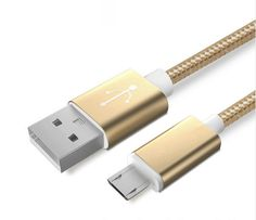 Colourful Nylon Micro USB Cable for Apple and Android Phones – Golden - Android