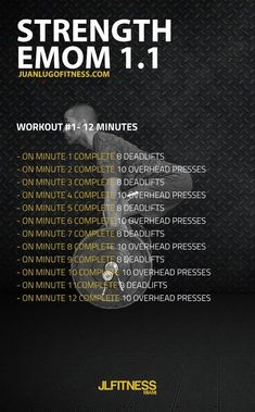 Fitness 12 Minute Strength EMOM 8 deadlifts and 10 overhead presses - Looking for effective workouts that lasts 10 to Try an EMOM Workout. EMOM stands for Every Minute on the Minute. Kettlebell Training, Kettlebell Cardio, Training Fitness, Kettlebell Benefits, Kettlebell Challenge, Athletic Training, Circuit Training, Fitness Style, Emom Workout