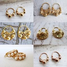 Antique gold criollas were popular type of earrings in the Philippines during the Spanish colonial era. Some of them were so small and durable that they were hardly taken off. Antique Earrings, Antique Jewelry, Art Deco Earrings, Hoop Earrings, Types Of Earrings, Spanish Colonial, Gold Style, Filipino, Antique Gold
