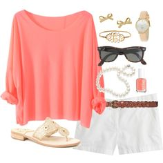 dolman top, white shorts, sandals, pearls