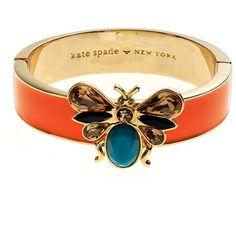KATE SPADE NEW YORK Winged Bug Bangle Bracelet (£69) ❤ liked on Polyvore featuring jewelry, bracelets, accessories, bangles, rings, orange, 14k bangle bracelet, 14 karat gold bangle bracelet, 14 karat gold jewelry and enamel bangle bracelet