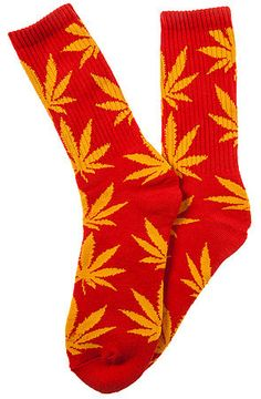 The Plantlife Socks in Red and Yellow by HUF