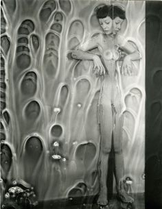 Erwin Blumenfeld  Mirror Nude with Chemicals, {Distorted Nude with Bubbles},New York 1950′s.