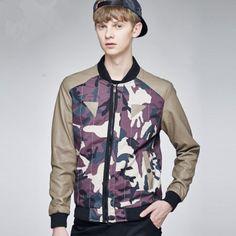 Camo brown leather jacket men for autumn wear XXL