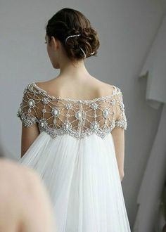 Off Shoulder Beaded Short Sleeves Sheath Line Wedding Dress With Long Watteau Train