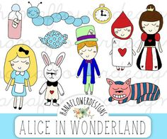 Alice in Wonderland clipart: Alice clip art by hanaflowerdesigns. A cute collection of hand drawn Alice in Wonderland graphics that you can use for scrapbooking, cards, invites, and more! #etsy