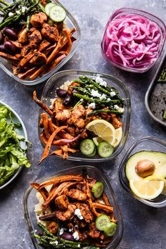 Meal Prep:Chicken Shawarma and Sweet Potato Fry Bowls - an hour of work for a week's worth of healthy delicious lunches or dinners . @halfbakedharvest.com