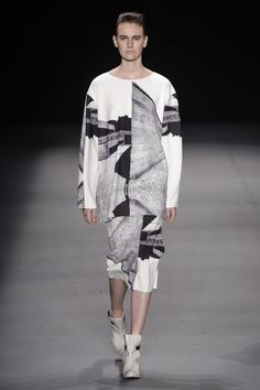 Black & White Photographic Print Fashion - graphic monochrome placement print tunic top & skirt // Alessa, FW14
