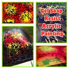 Gel Dish Soap Resist Acrylic Painting.  Thank you to, Create art with me! We will be trying this :)