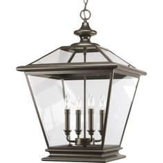 "Progress Lighting P3904 Crestwood 4 Light 27"" Tall Outdoor Pendant with Clear Gl Antique Bronze Outdoor Lighting Pendants"