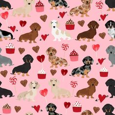 doxie love valentines fabric cute love design best cupcakes and sweets dachshund valentines fabric by petfriendly