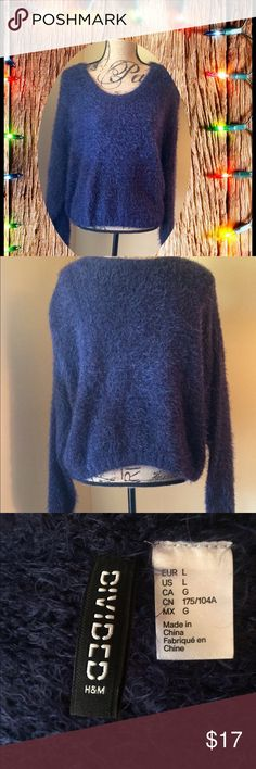 Navy Fuzzy Yarn Sweater Warm and stylish, this pretty sweater from Divided looks fantastic with jeans or a dressy skirt. Constructed from a fuzzy yarn in a rich deep blue this will quickly become your favorite for sitting by the fire with friends this holiday season. Size L, NWOT Divided Sweaters Crew & Scoop Necks