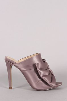 adeef4016a1 Liliana Oversized Satin Bow Peep Toe Mule Heel · Lace Up HeelsPumps HeelsHigh  HeelsAnkle ...