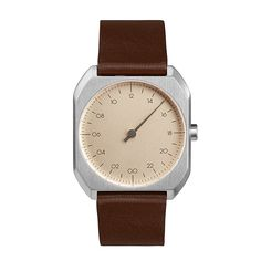 Slow Watch Slow Mo Brown Leather Silver Case Cream Dial